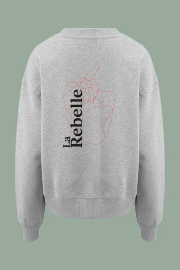 AESTHETIKA Sweatshirt oversized LA REBELLE white red black back women