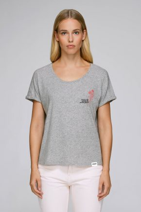 AESTHETIKA_T-SHIRT_ROLL-UP_DESTROY-PATRIARCHY_grey-red-black front women