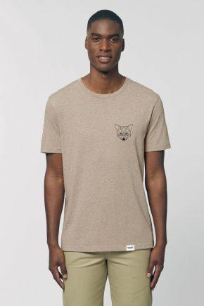AESTHETIKA T-SHIRT THE TINY FOX heathersand black front
