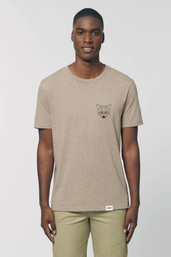AESTHETIKA T-SHIRT THE TINY FOX heathersand black front