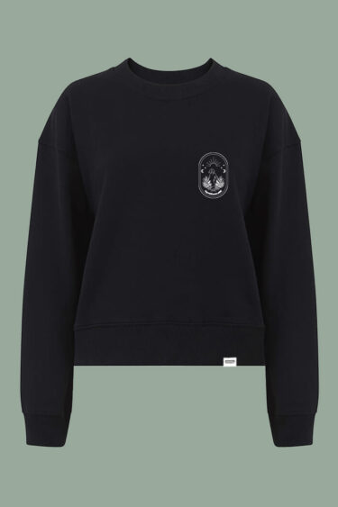 AESTHETIKA Sweatshirt oversized MOON CHILD black white front women