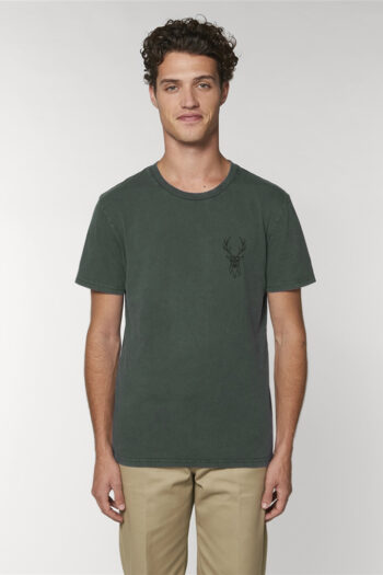 AESTHETIKA T-SHIRT THE DEER stone washed green black front