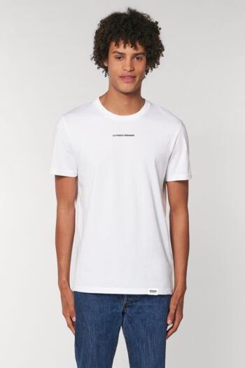 AESTHETIKA T-SHIRT LA FORCE FEMININE mini white black front men